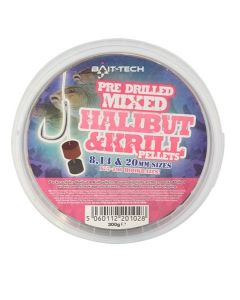 Bait-Tech Pre-Drilled Mixed Halibut Marine & Krill Pellet Hookers 300g