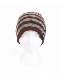 Mainline Brown and Grey Striped Beanie